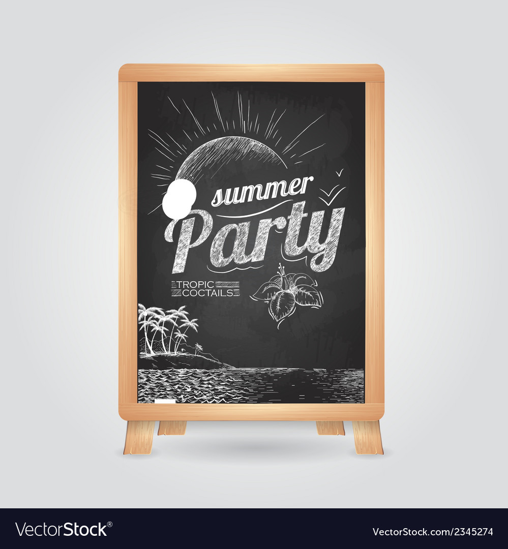 Summer party poster disco background vector | Price: 1 Credit (USD $1)