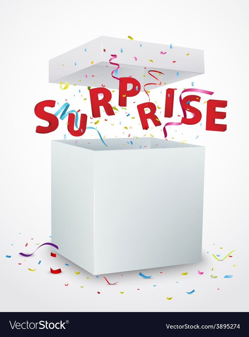 Surprise message box with confetti vector | Price: 3 Credit (USD $3)