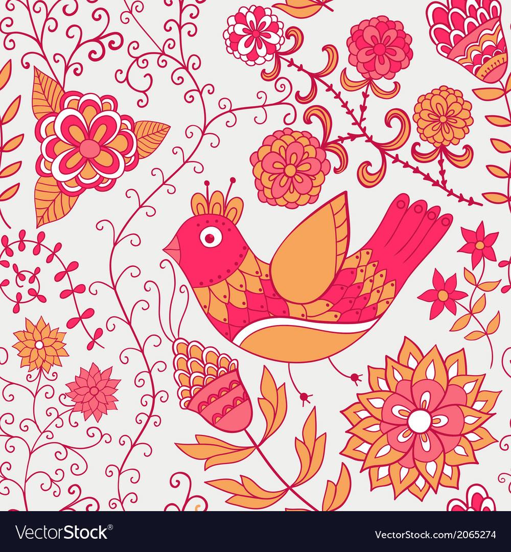 Winter time seamless texture with flowers birds vector | Price: 1 Credit (USD $1)