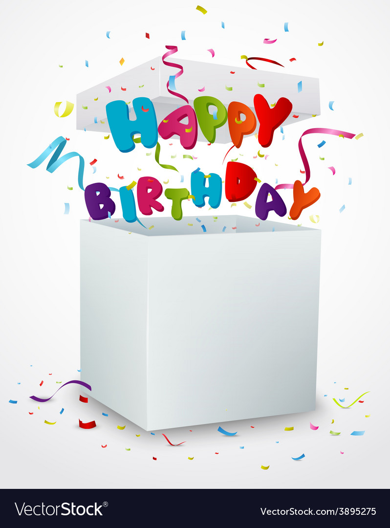 Birthday message box with confetti vector | Price: 3 Credit (USD $3)
