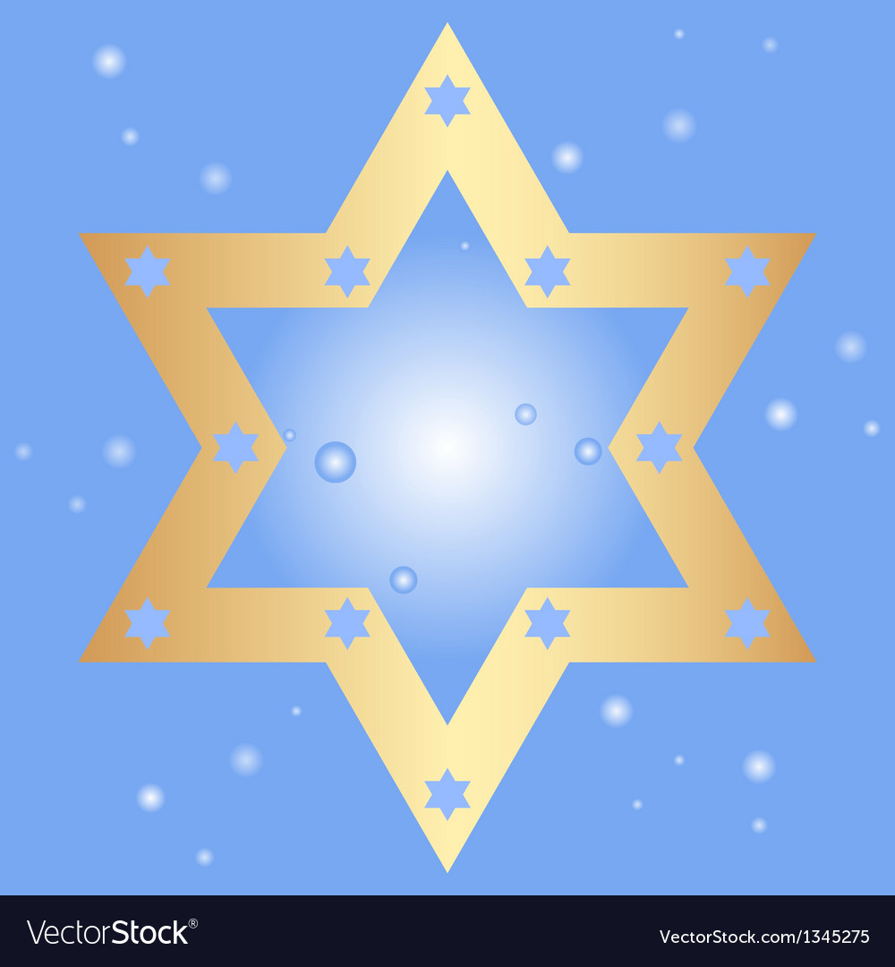 Blue background with golden star of david vector | Price: 1 Credit (USD $1)