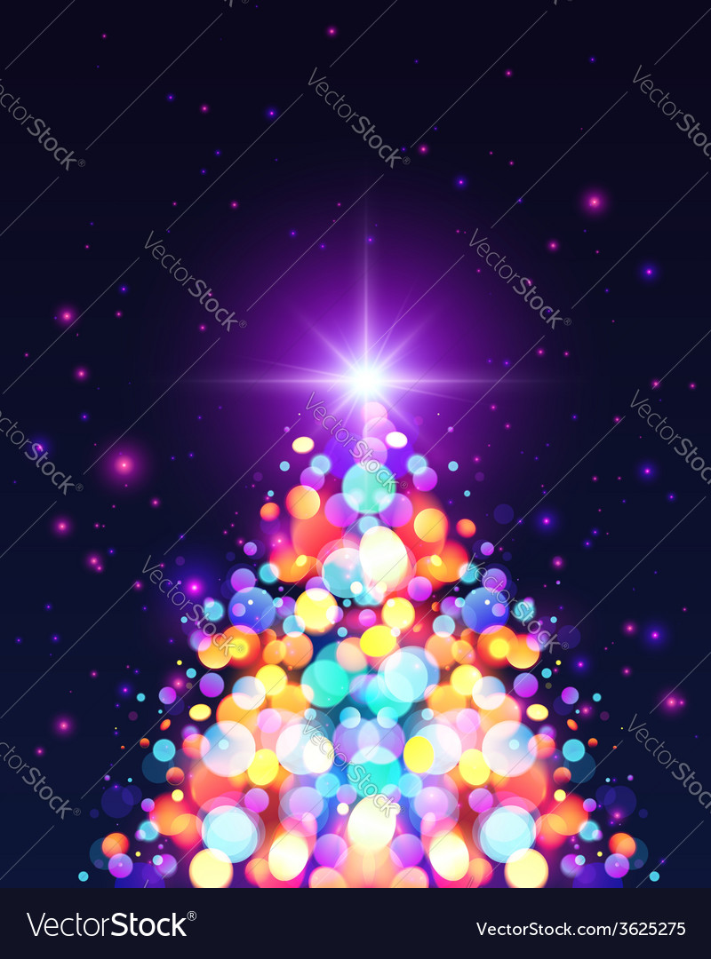 Bright colors bokeh light effect christmas tree vector | Price: 1 Credit (USD $1)