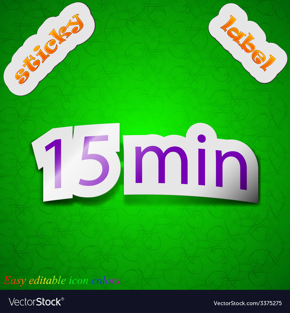 Fifteen icon sign symbol chic colored sticky label vector   Price: 1 Credit (USD $1)