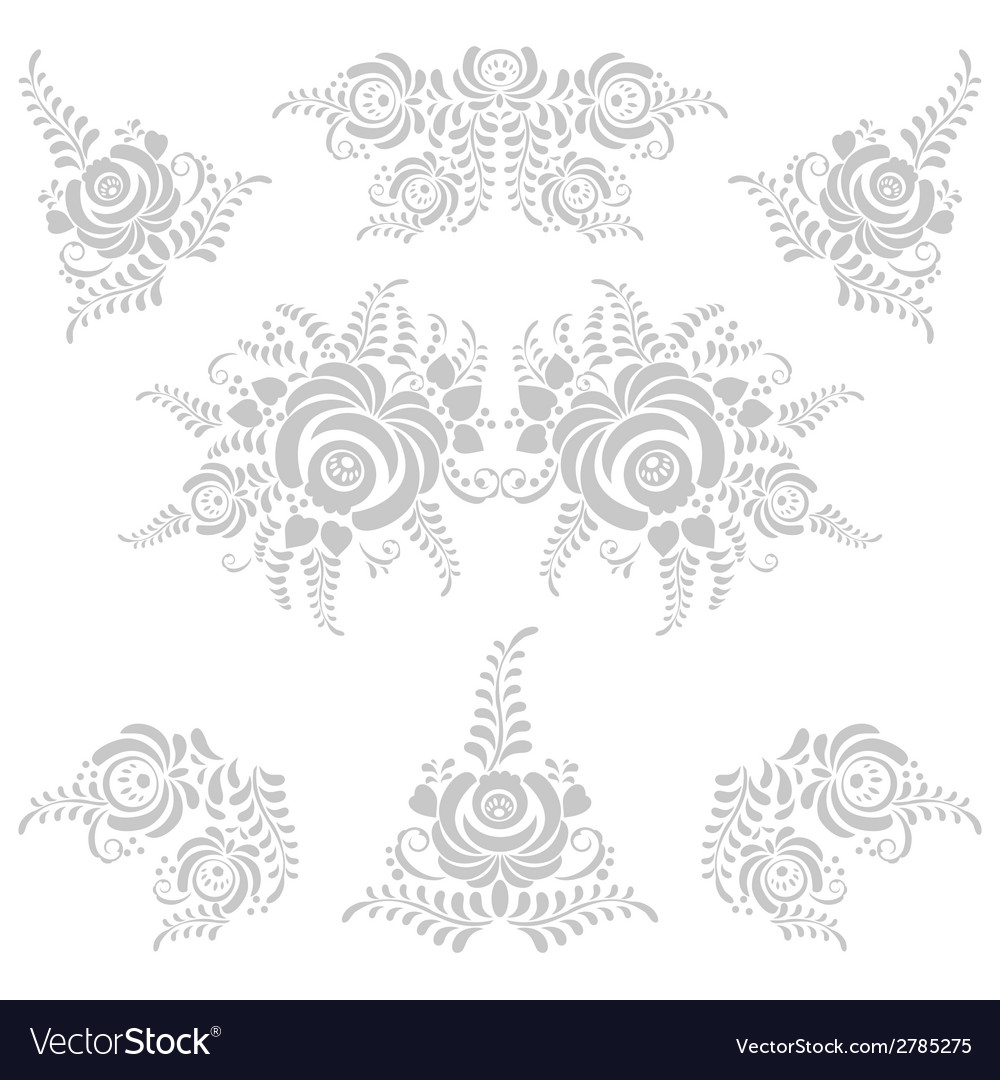 Floral grey elements in gzhel style vector | Price: 1 Credit (USD $1)