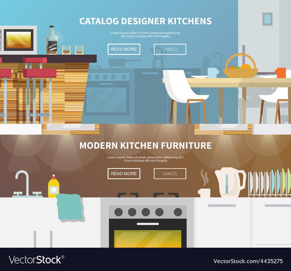 Kitchen furniture banner vector | Price: 1 Credit (USD $1)
