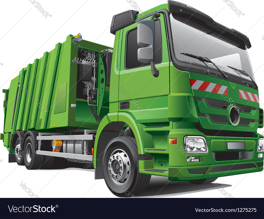 Modern garbage truck vector | Price: 5 Credit (USD $5)