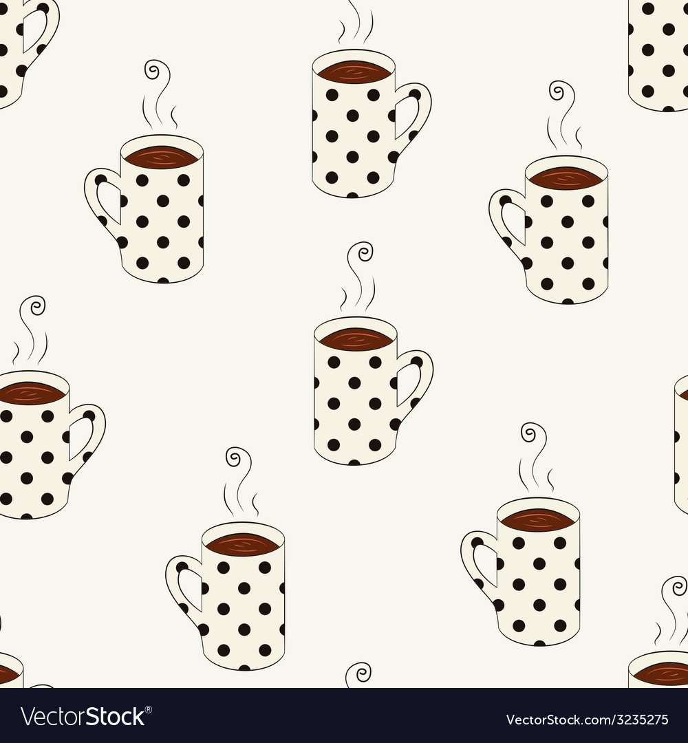Seamless pattern with sketching dotted cups vector | Price: 1 Credit (USD $1)