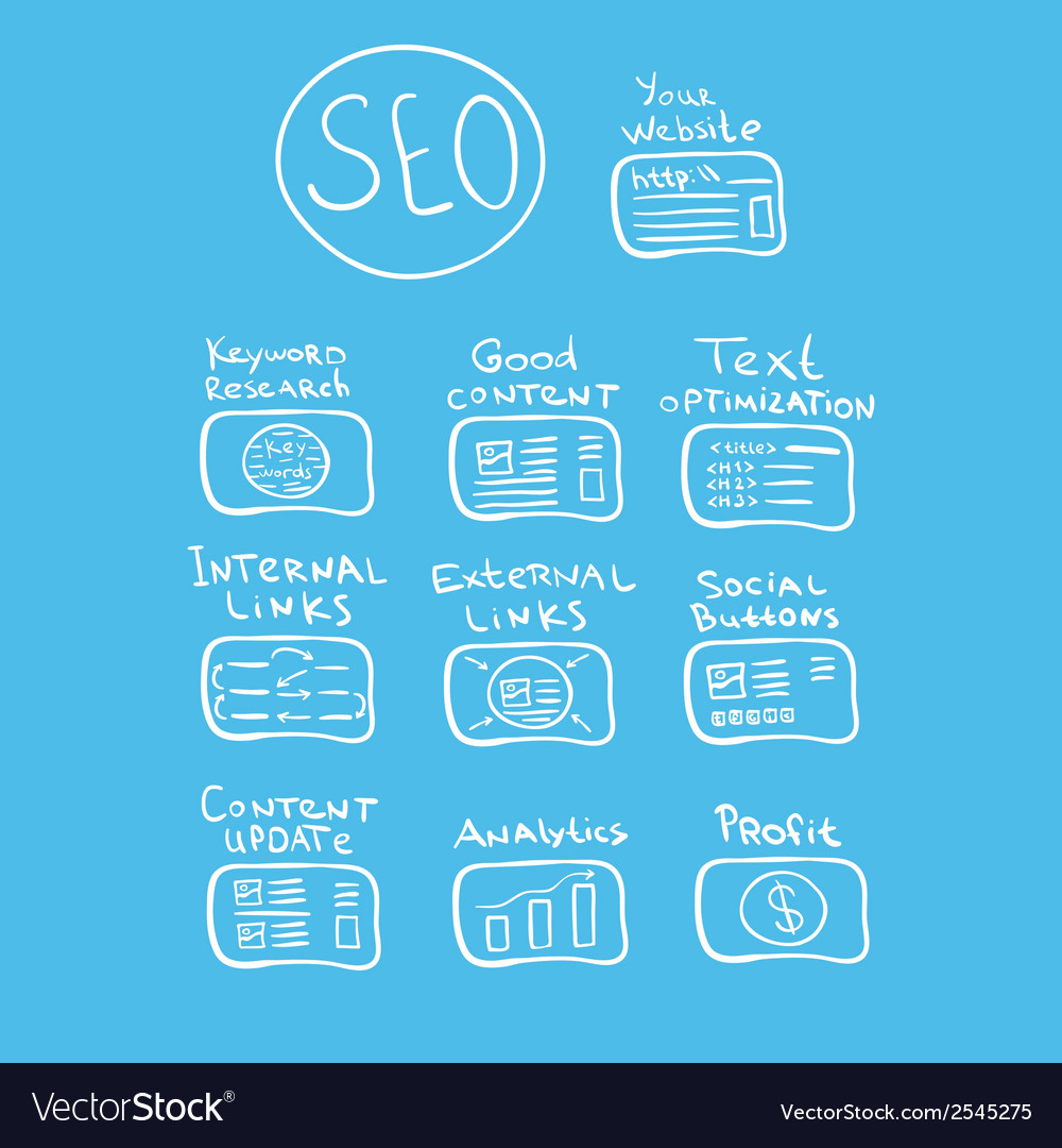 Search engine - seo doodle concept vector | Price: 1 Credit (USD $1)