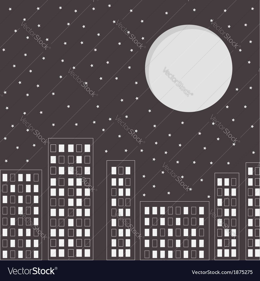 Silhouette of the night city stars and big moon vector | Price: 1 Credit (USD $1)