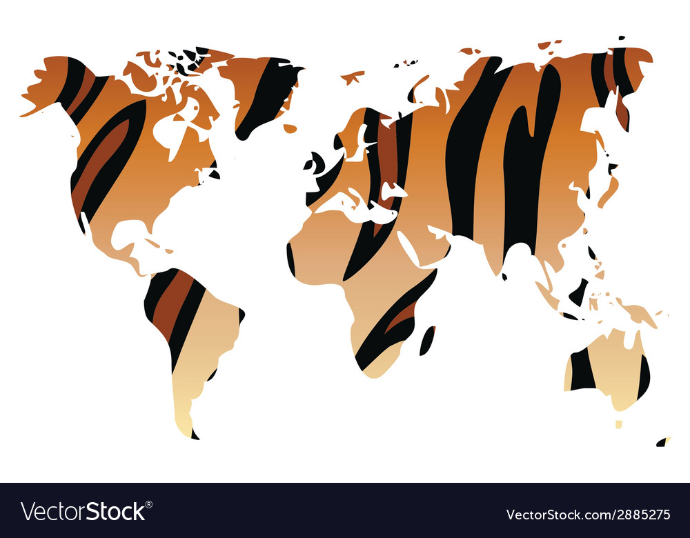 World map in animal print design tiger pattern vector | Price: 1 Credit (USD $1)
