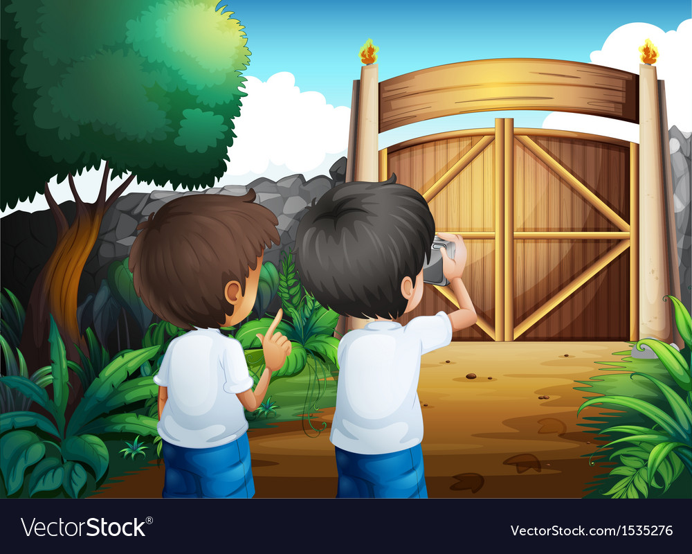 Boys taking pictures inside the gated yard vector | Price: 1 Credit (USD $1)