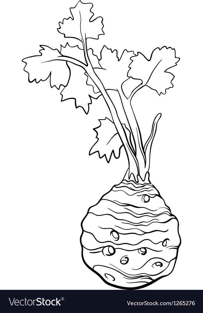 Celery vegetable cartoon for coloring book vector | Price: 1 Credit (USD $1)