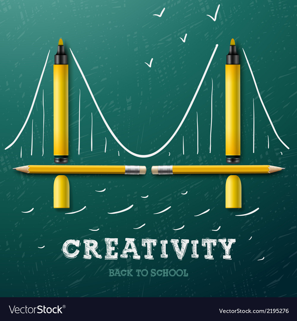 Creativity learning bridge made with pencils and vector | Price: 1 Credit (USD $1)