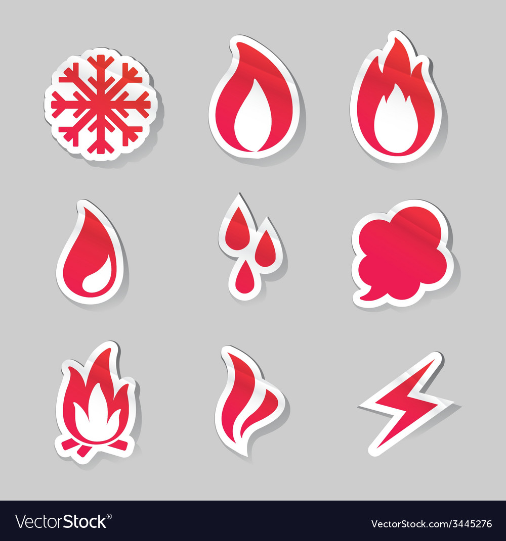 Fire freeze steam water icons vector | Price: 1 Credit (USD $1)