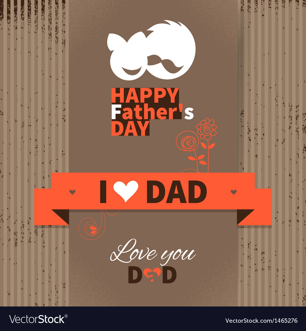 Happy fathers day vintage retro card vector | Price: 1 Credit (USD $1)