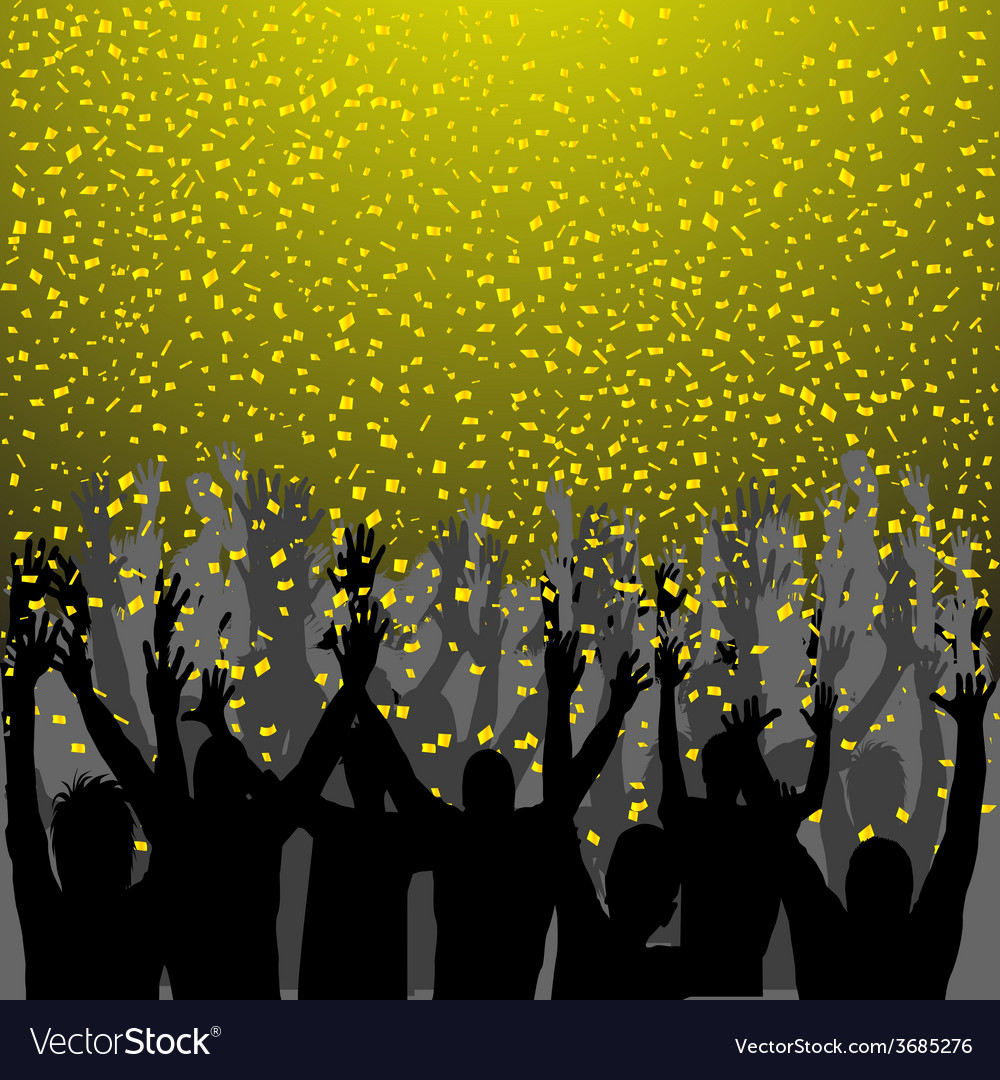 Nightclub party with hands in air and golden vector | Price: 1 Credit (USD $1)