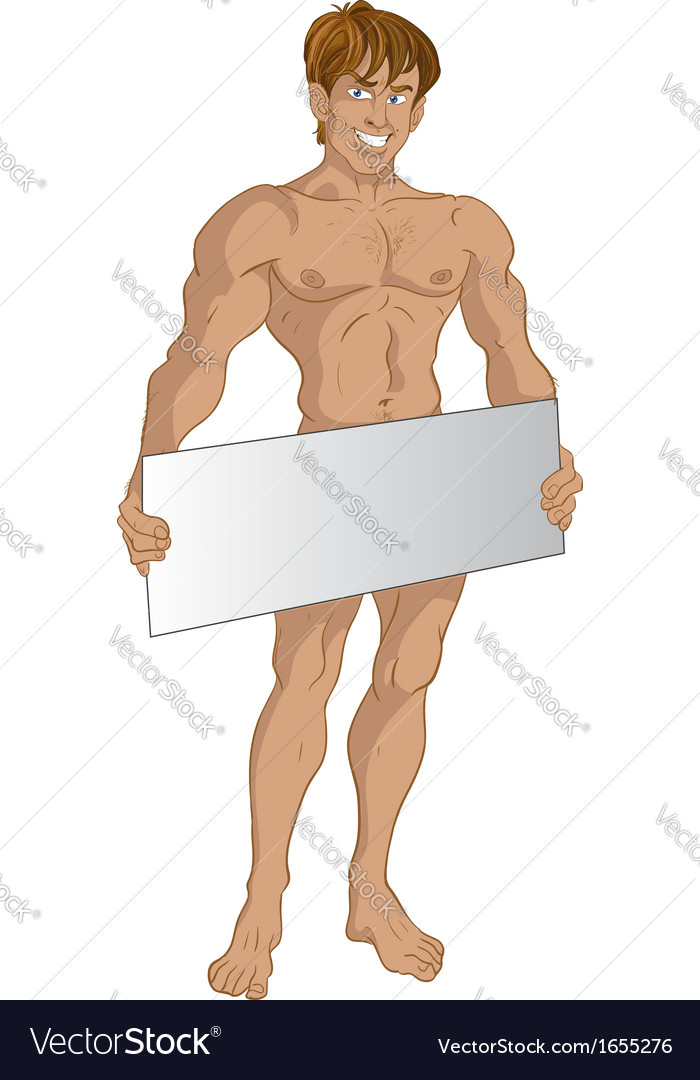Nude blond boy with text area vector | Price: 1 Credit (USD $1)