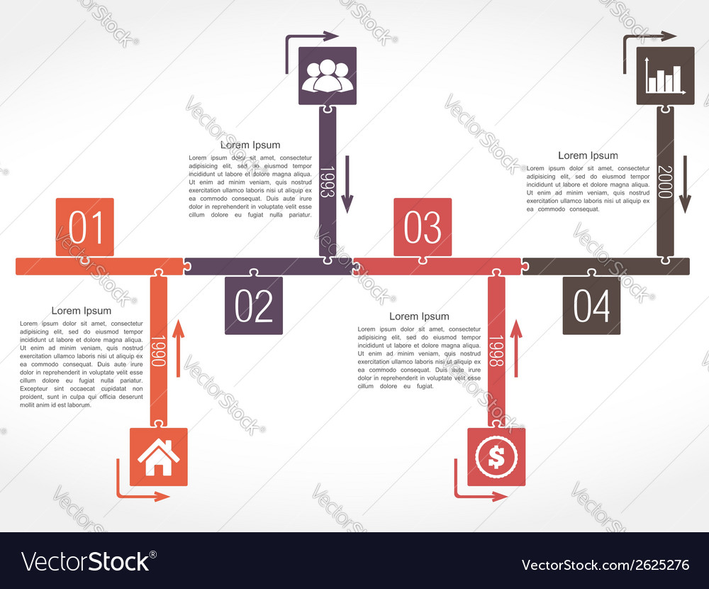 Puzzle timeline vector | Price: 1 Credit (USD $1)