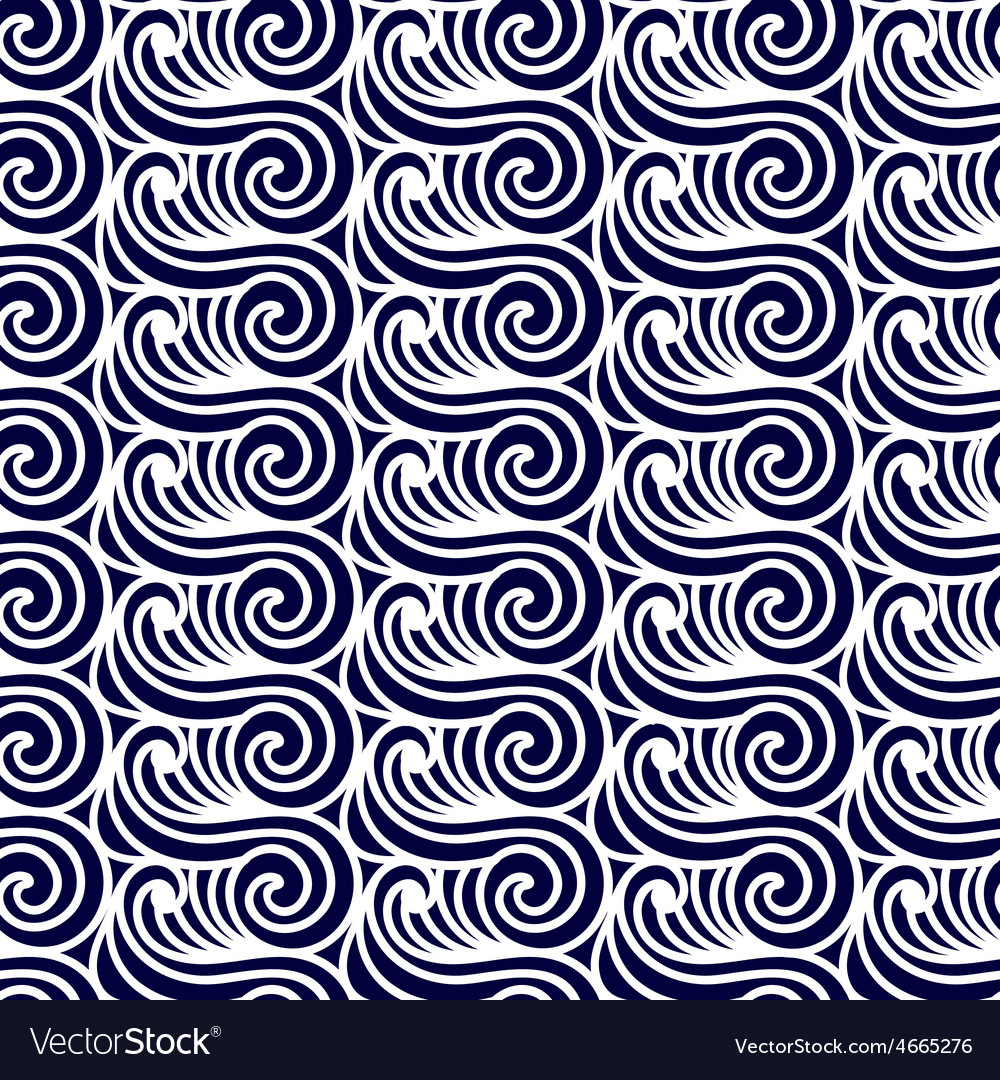 Sea seamless pattern abstract asian waves vector | Price: 1 Credit (USD $1)