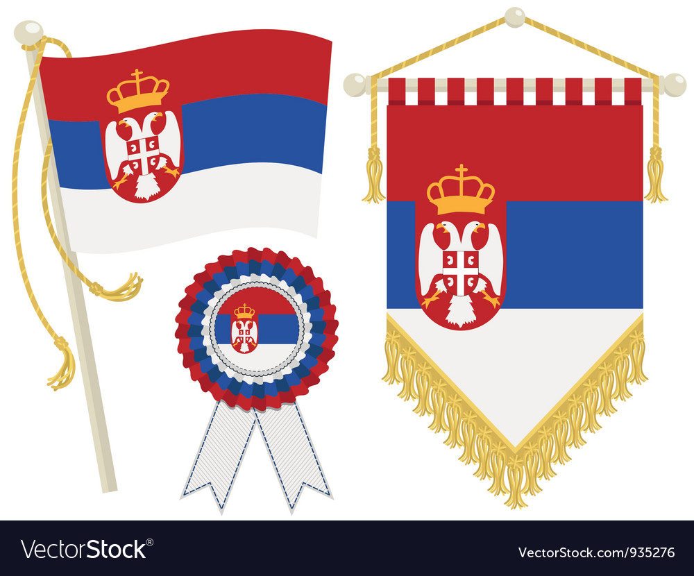 Serbia flags vector | Price: 1 Credit (USD $1)