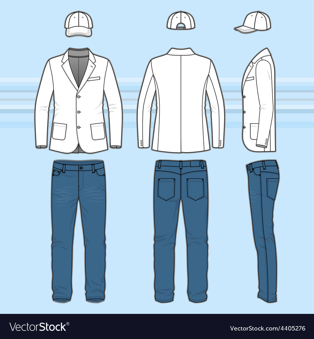 Simple outline drawing of a blazer jeans and cap vector   Price: 1 Credit (USD $1)