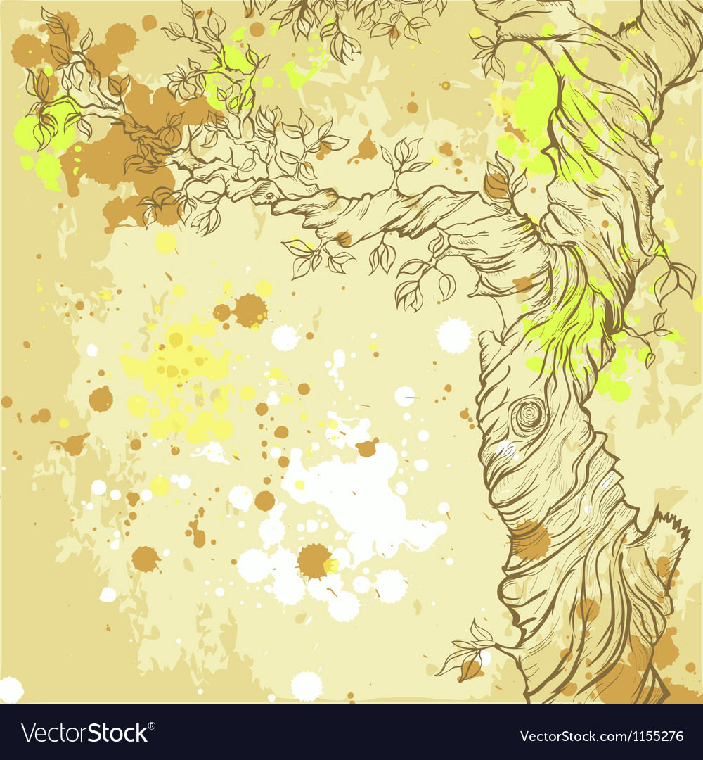 Summer or spring grunge background with tree vector   Price: 1 Credit (USD $1)