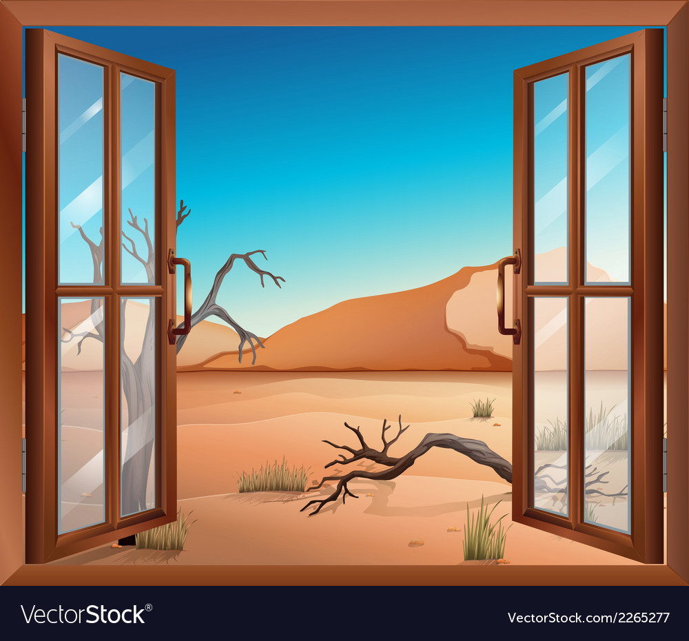 An open window with a view of the desert vector | Price: 1 Credit (USD $1)