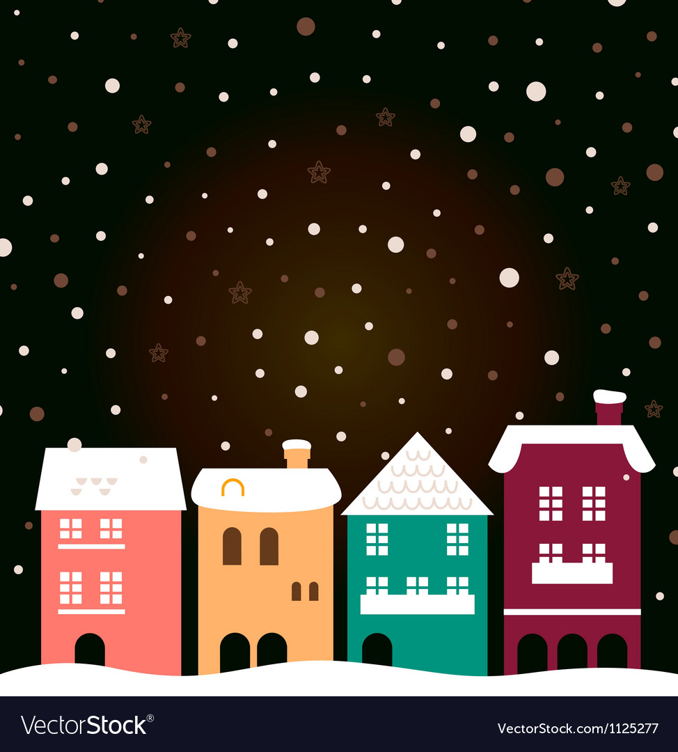 Colorful christmas city houses with snowing behind vector | Price: 1 Credit (USD $1)