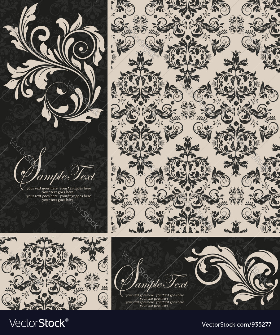 Elegant damask invitation card vector | Price: 1 Credit (USD $1)