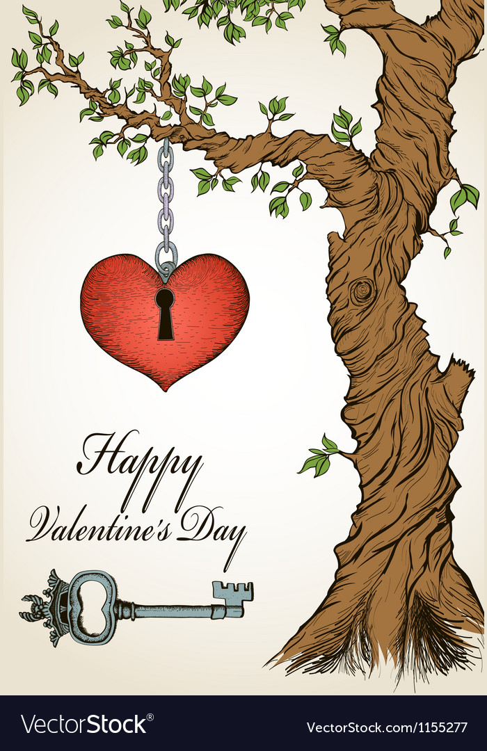 Handdrawn valentine card with tree and heart vector | Price: 1 Credit (USD $1)