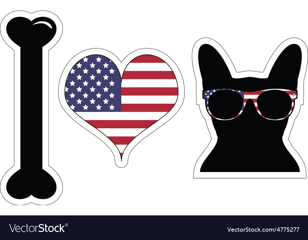 I love french bulldog with american symbols vector | Price: 1 Credit (USD $1)