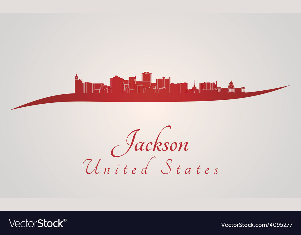 Jackson skyline in red vector | Price: 1 Credit (USD $1)