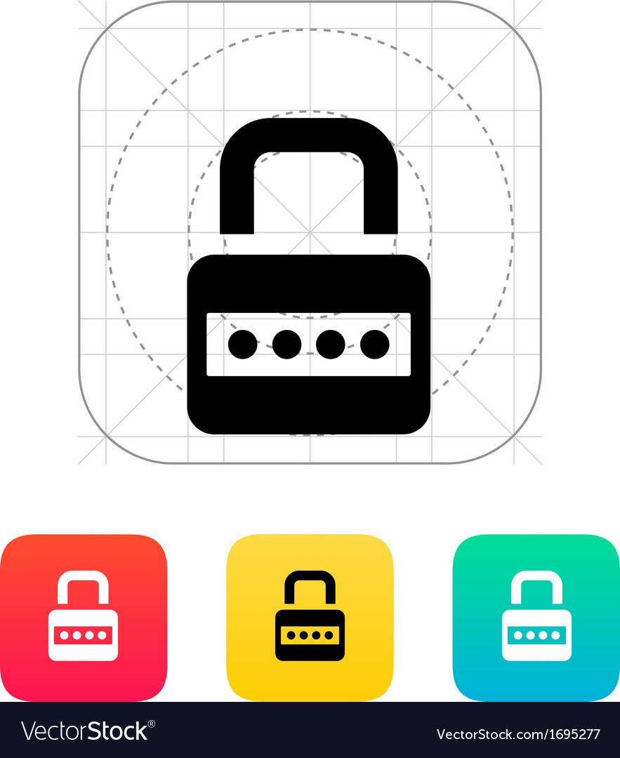 Lock with password icon vector | Price: 1 Credit (USD $1)