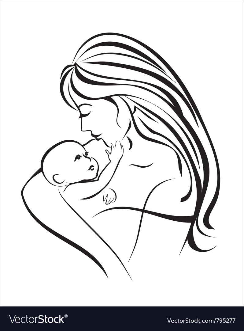 Mama and baby vector | Price: 1 Credit (USD $1)