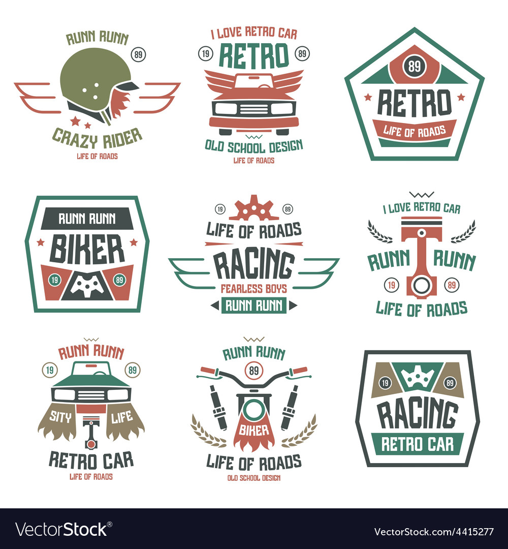 Racing badges for t shirt retro vector | Price: 1 Credit (USD $1)