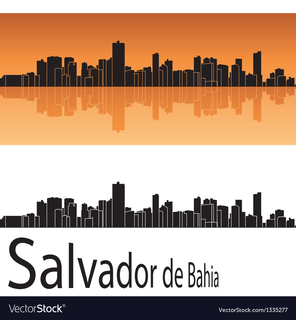 Salvador de bahia skyline in orange background vector | Price: 1 Credit (USD $1)