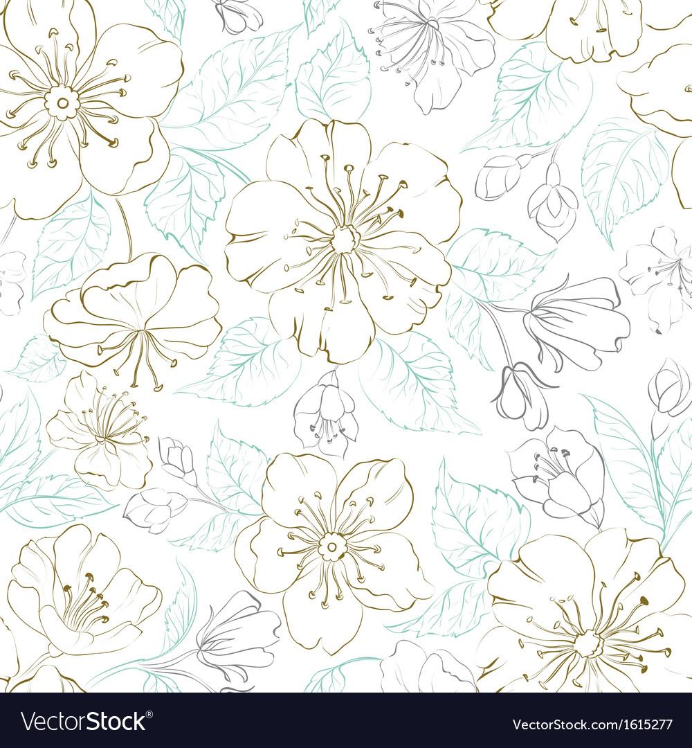 Seamless pattern scatch of spring sakura vector | Price: 1 Credit (USD $1)