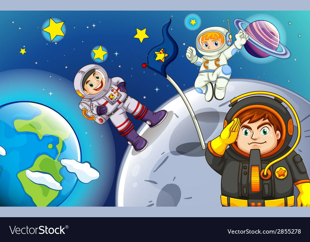 Astronauts in the outerspace vector | Price: 3 Credit (USD $3)