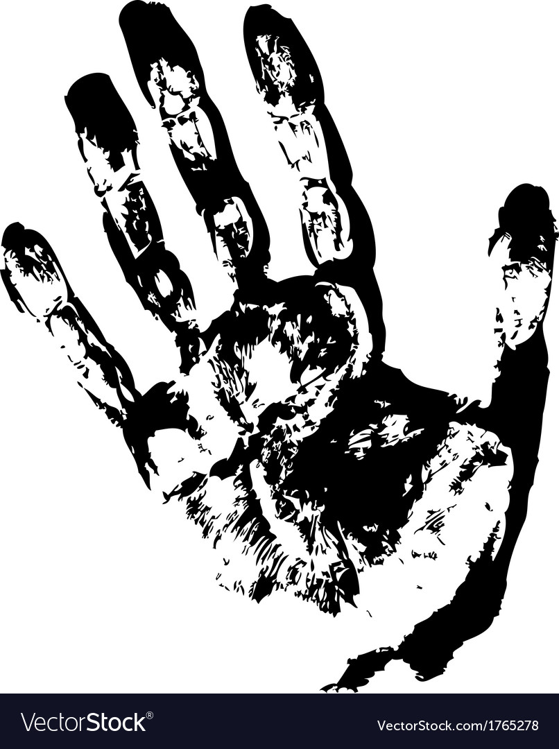 Black hand print vector | Price: 1 Credit (USD $1)