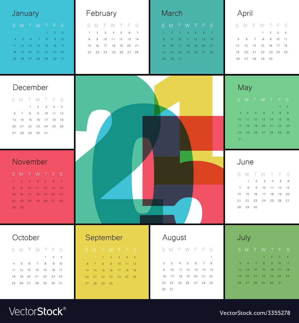 Calendar 2015 square colorful vector | Price: 1 Credit (USD $1)