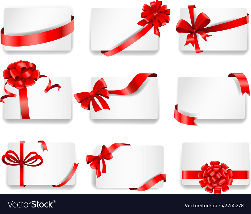 Festive cards with red gift ribbons vector | Price: 3 Credit (USD $3)