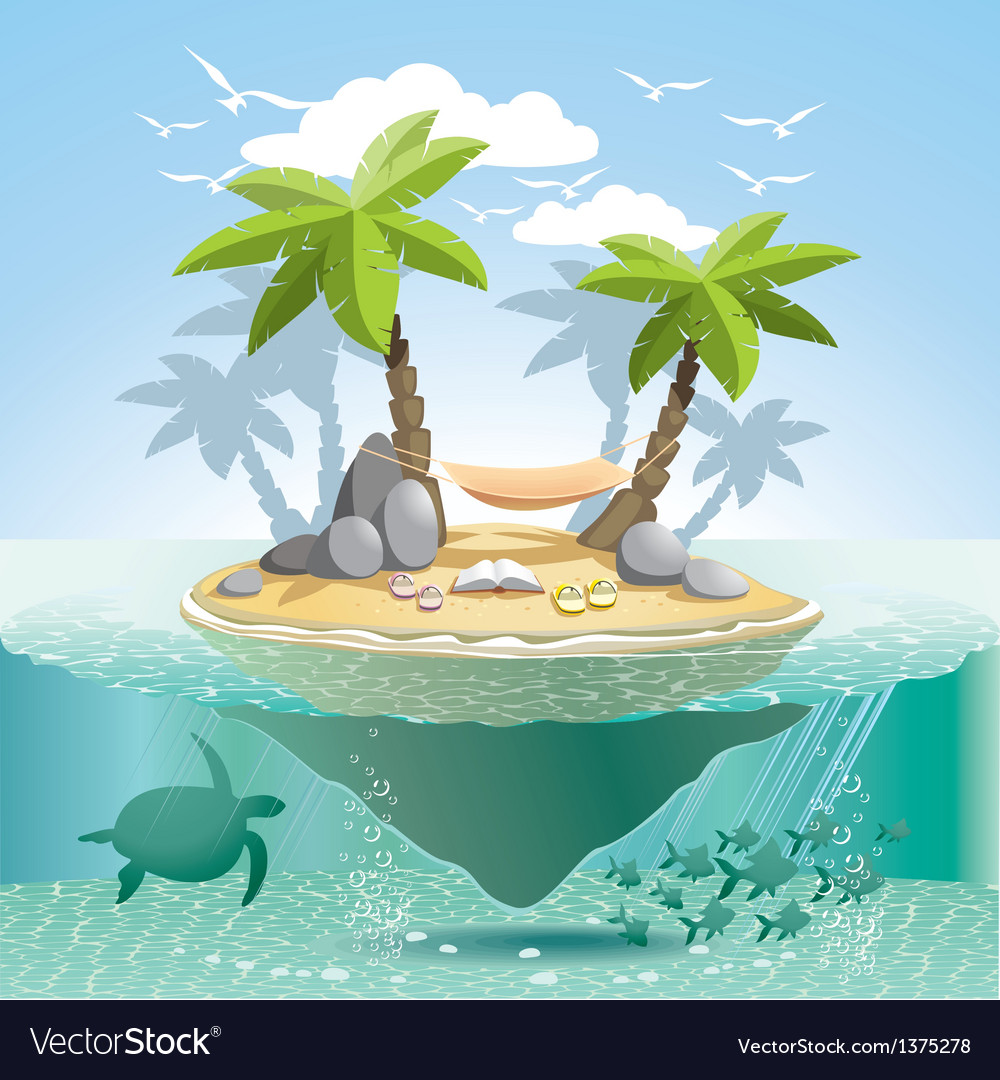 Paradise island vector | Price: 5 Credit (USD $5)