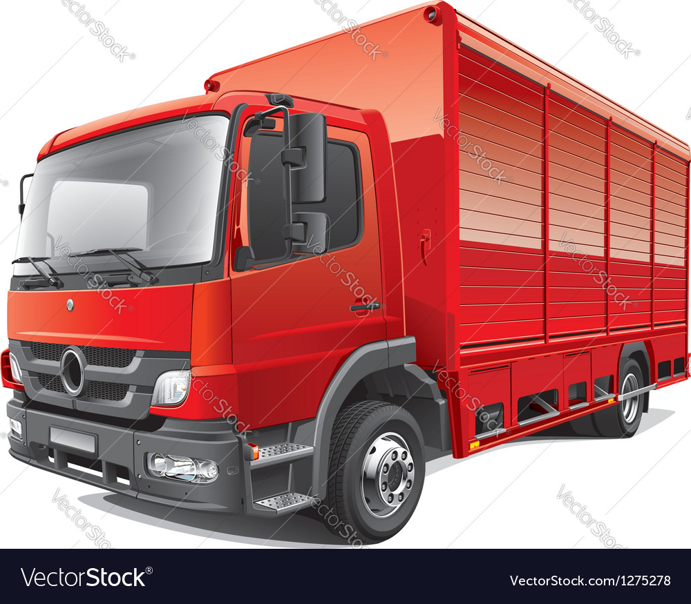 Red delivery truck vector | Price: 5 Credit (USD $5)