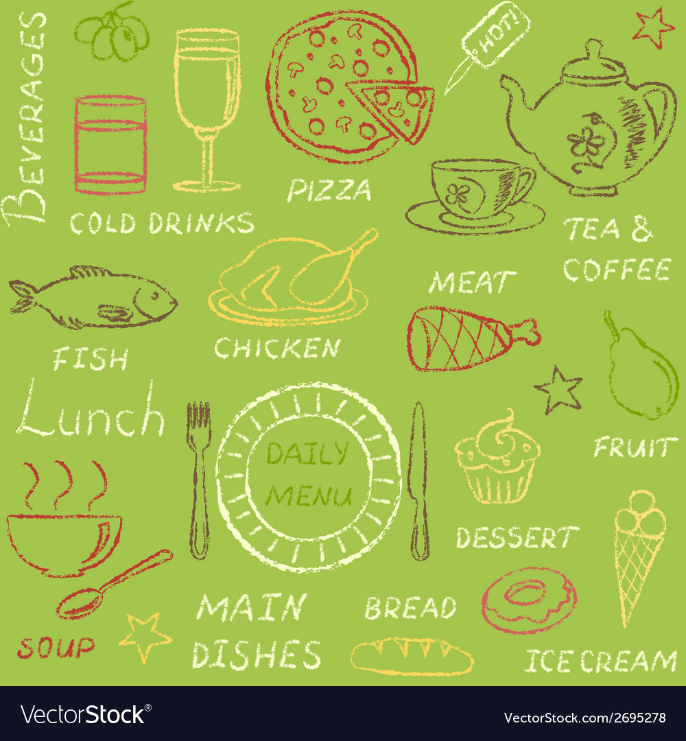 Seamless pattern with doodle menu elements vector | Price: 1 Credit (USD $1)