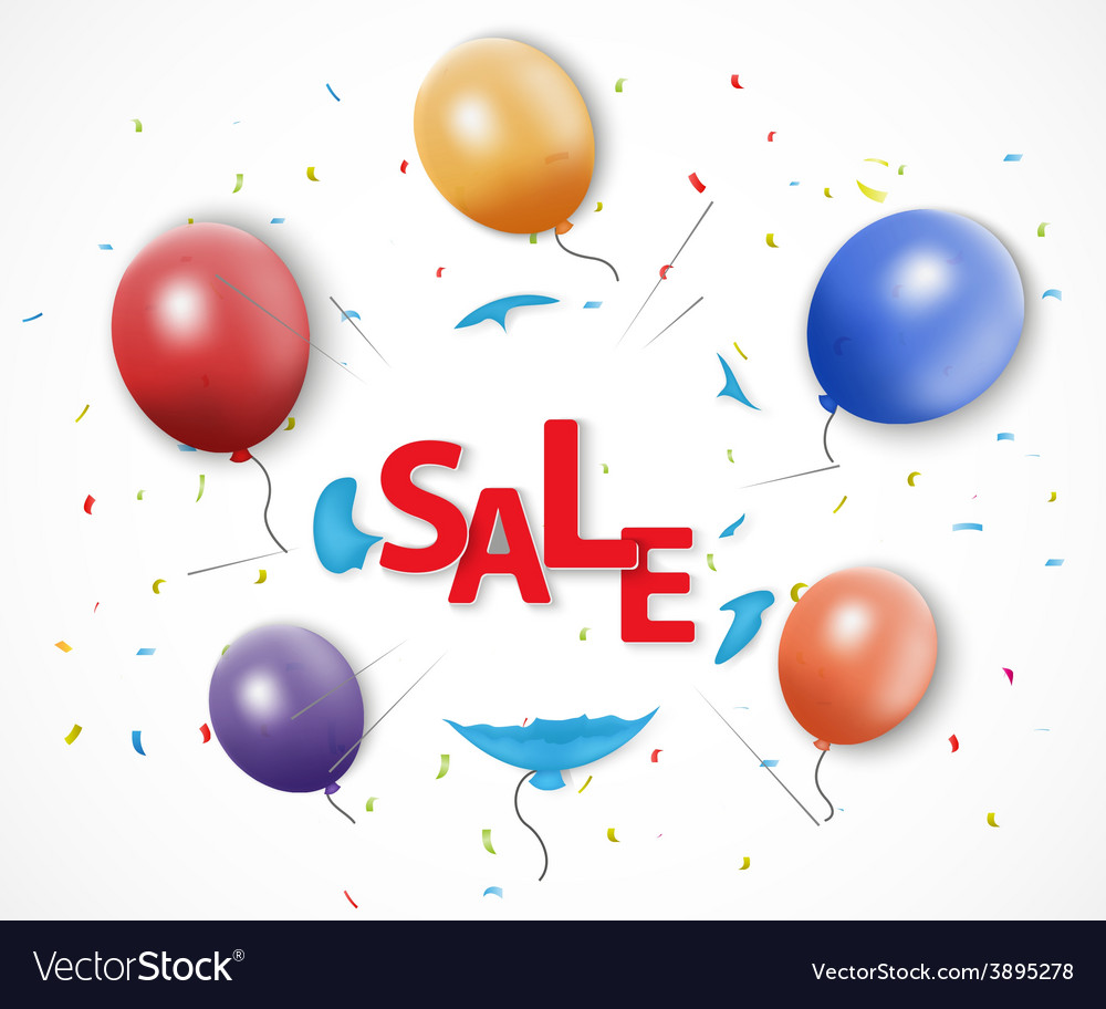Shocked sale concept with burst balloon vector