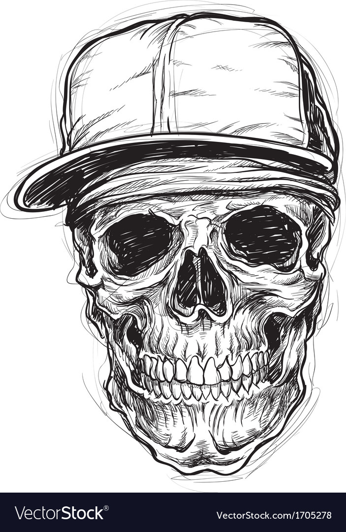 Sketchy skull with cap and bandanna vector | Price: 3 Credit (USD $3)