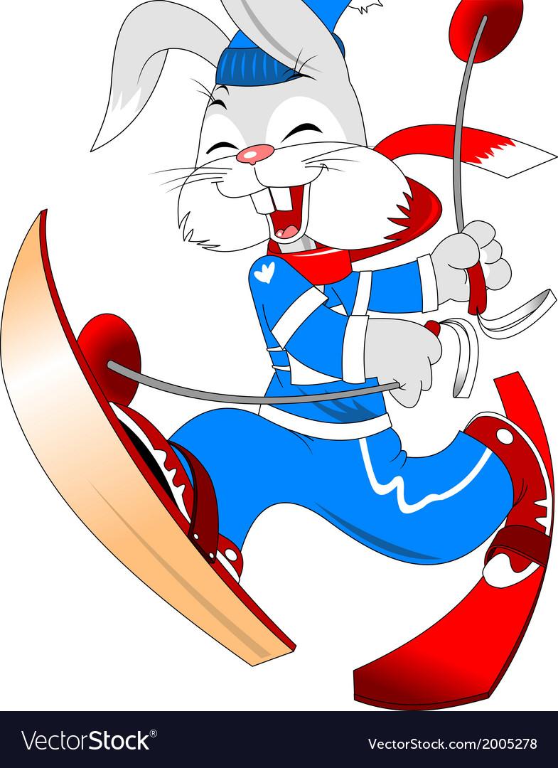 Skiing bunny cartoon vector | Price: 1 Credit (USD $1)