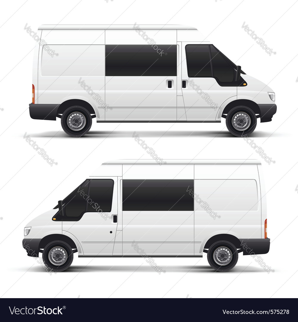 White auto car minibus for freight transportation vector | Price: 3 Credit (USD $3)