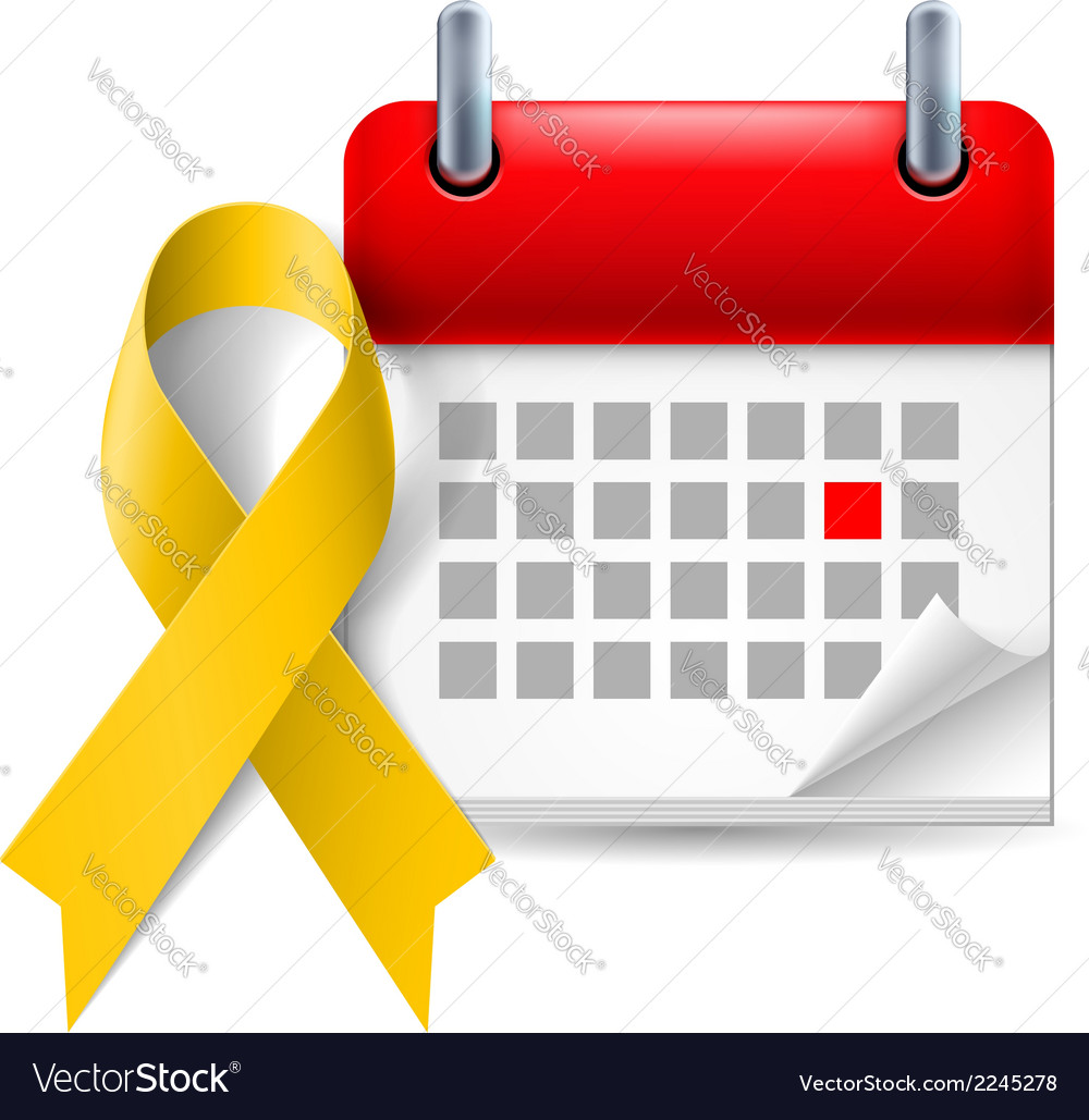 Yellow awareness ribbon and calendar vector | Price: 1 Credit (USD $1)