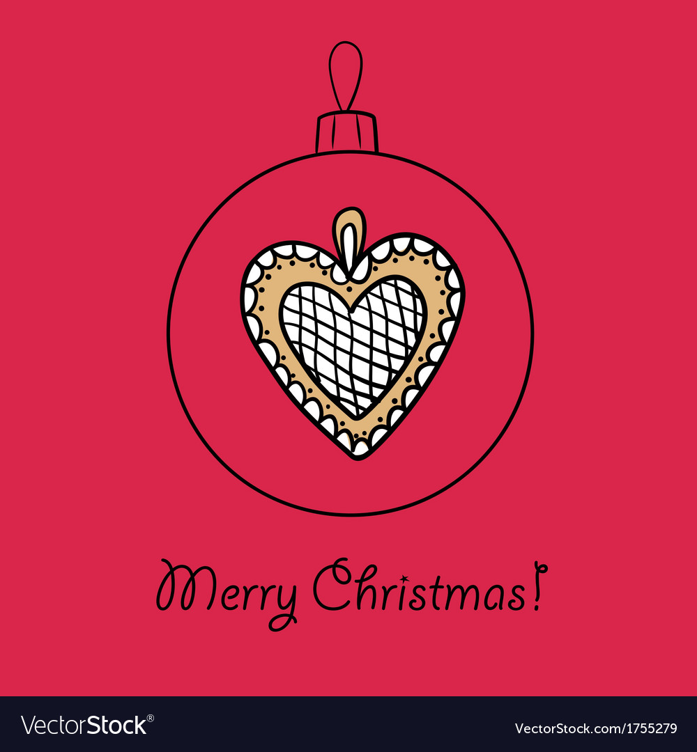Ball with christmas heart vector | Price: 1 Credit (USD $1)